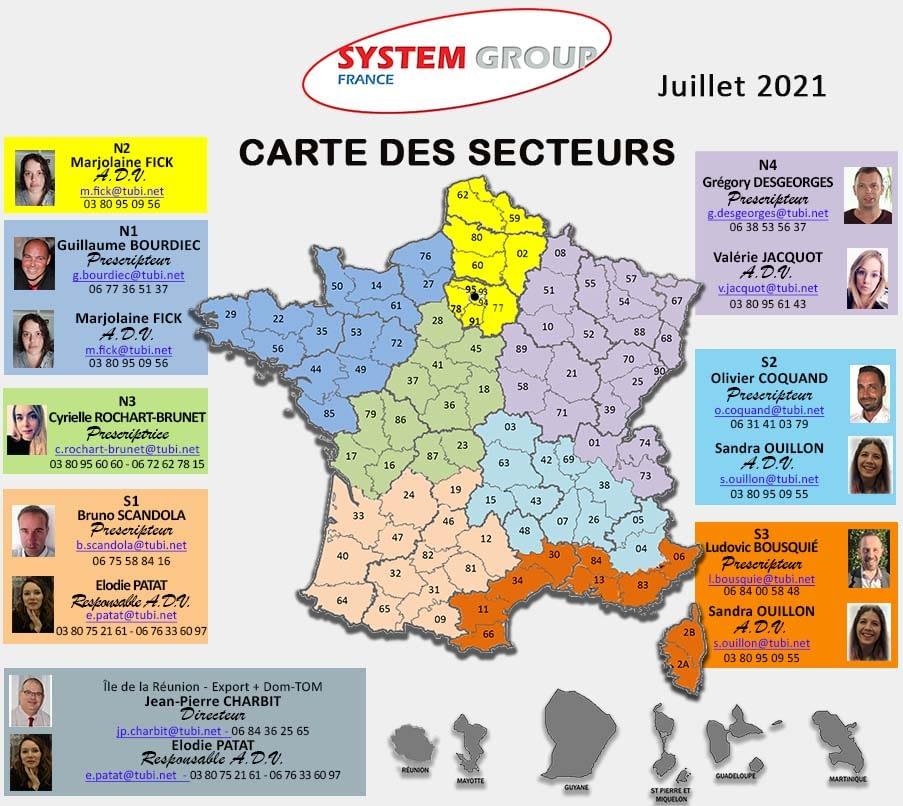 carte des secteurs SYSTEM GROUP FRANCE - juillet 2021